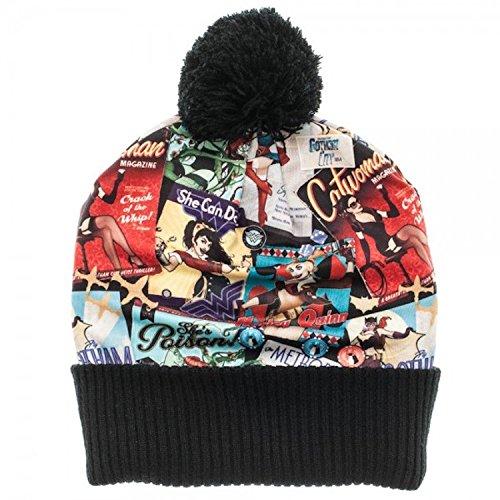 Dc Print Hat (DC Comics Bombshells Over Print Pom Beanie Knit Costume Hat)