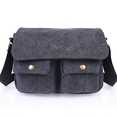 MiCoolker Small Vintage Classic Army Military Cotton Canvas Heavy Weight Hiking Traveling Satchel Shoulder Messenger Bag