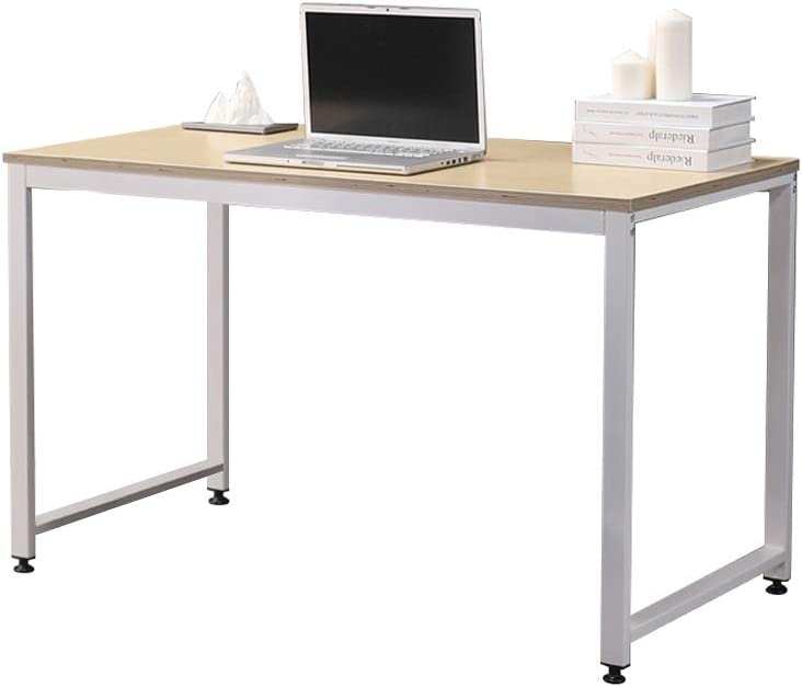 "SOFSYS 47.2"" Computer Writing Desk Workstation Table Home Office Design for Video Gaming, Designers and Entrepreneurs, Large Desktop with Sturdy Metal Frame, Oak/White"