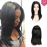 Fave Straight Human Hair Lace Part Wigs within 4x4 Lace Closure for Women 130% Density 16Inch (#1B)