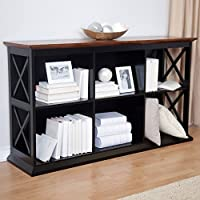 Belham Living Hampton TV Stand Bookcase - Black/Oak