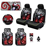 Yupbizauto New 13 Pieces Nightmare Before Christmas Jack Skellington Ghostly Car Truck SUV Seat Covers Floor Mat Bundle Set