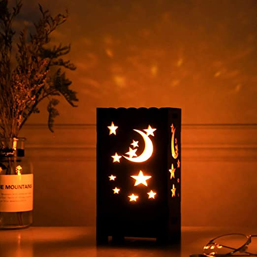 Uonlytech Luz de Mesa LED, lámpara de proyector con Forma de Luna ...