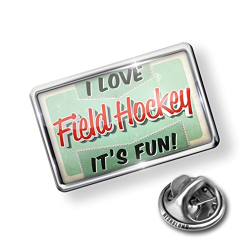 Pin I Love Field Hockey, Vintage design - Lapel Badge - (Field Hockey Pin)