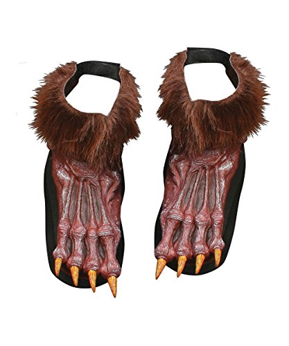 Fun World Adult's Silver Werewolf Shoe Covers, brown -