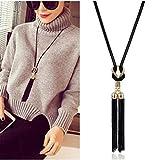 Hemlock Women Tassel Pendant Necklace Long Chain Cloth Necklace (Black)