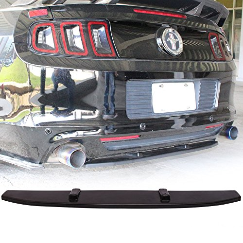 Rear Bumper Splitter fits 2013-2014 Ford Mustang V6 V8 | Unpainted Black PU Center Diffuser Back Bumper Spoiler Bodykit by IKON MOTORSPORTS ()