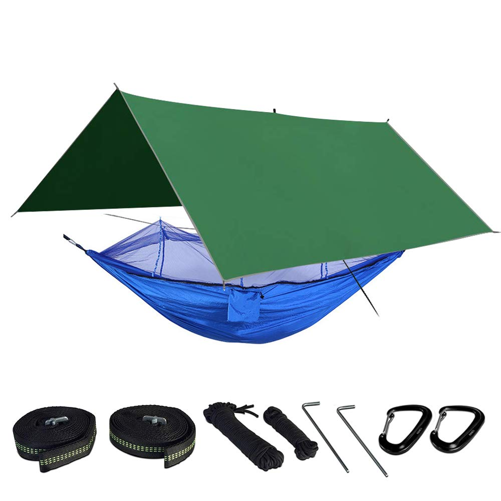 Camping Hammock Includes Mosquito Net, Rain Fly, Tree Straps, and Compression Sack | Weighs Only 4 Pounds, Perfect for Hammock Camping | Lightweight Nylon Portable Double Hammock (blue and green) by BESMILE
