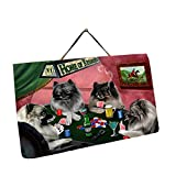 Home of Keeshonds 4 Dogs Playing Poker Photo Slate Hanging