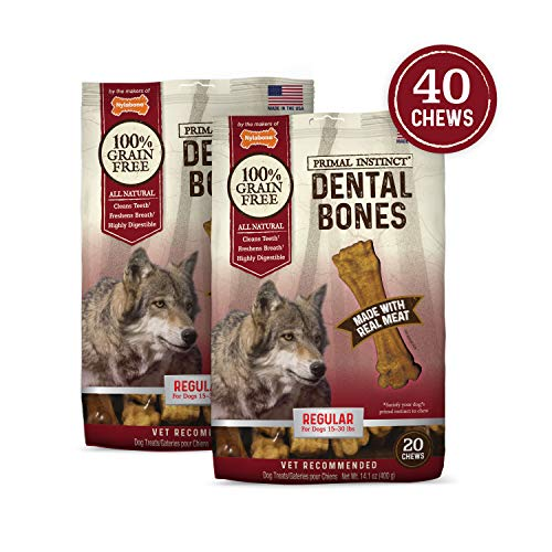 - Nylabone Primal Instinct Dog Dental Chews, Real Meat, Regular, Bundle (40Count)