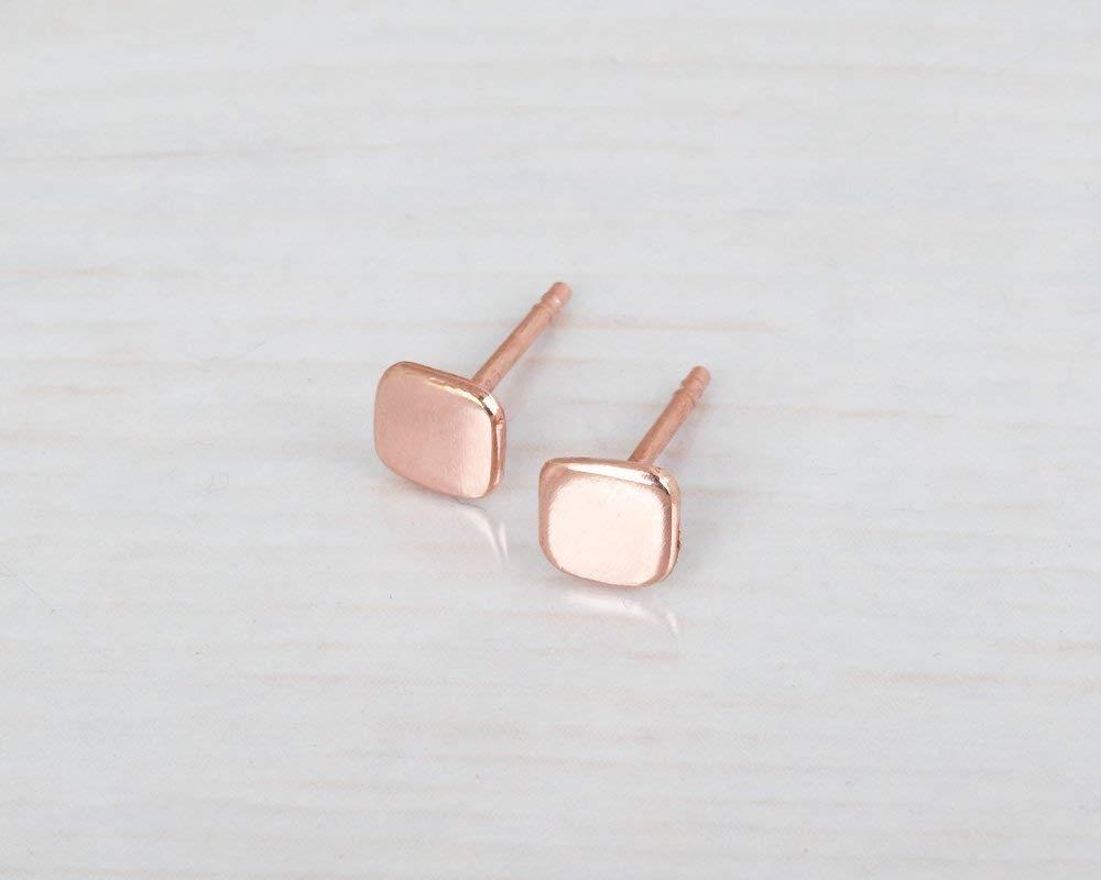 Geometric Posts 5mm Rose Gold Square Stud Post Earrings