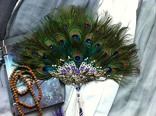 Dollbling Luxury Rhinestone Handmade Peacock Feather Fan 1pc -