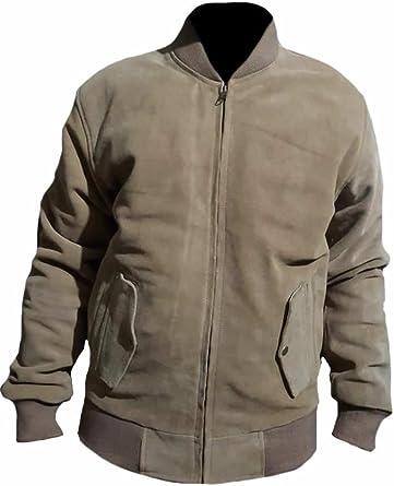 SleekHides Mens Fashion Bomber Style Suede Leather Jacket
