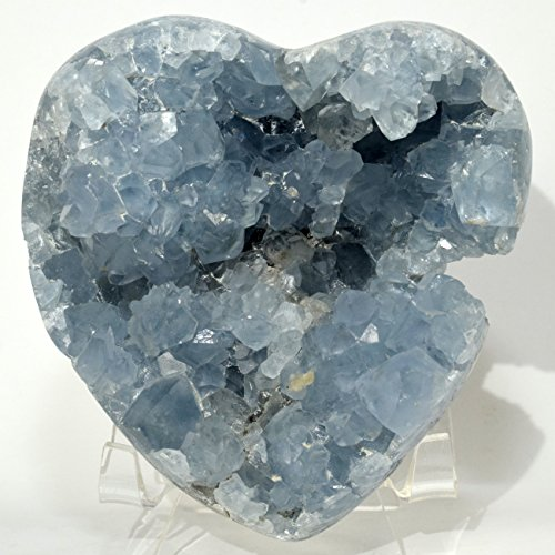 Large 1.6lb 3.8'' Celestite Geode Heart Natural Rich Blue Sparkling Druzy Mineral Cluster Celestine Crystal Stone - Madagascar + Acrylic Display Stand by HQRP-Crystal