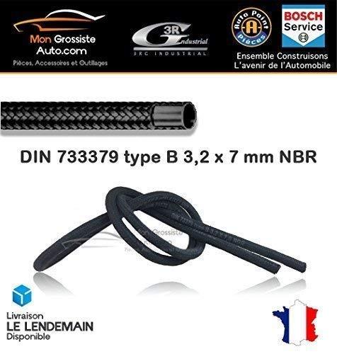 Tuyau de carburant ou lave glace tress/é DIN 79973 7 mm x 3,2 mm Marque 3RG Industrial 1 m/ètre