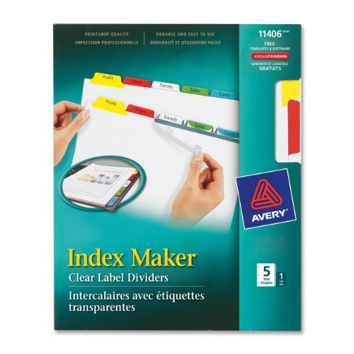 Avery(R) Index Maker(R) Clear Label Dividers With Color Tabs For Laser And Inkjet Printers, 3-Hole Punched, 5-Tab, Multicolor