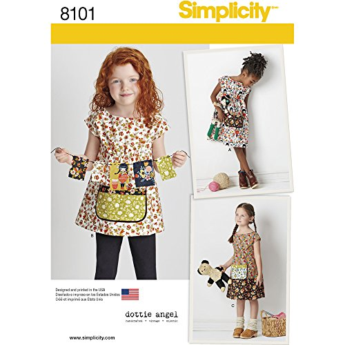 3 Sewing Patterns - Simplicity Pattern 8101 Child's Dress and Tunic from Dottie Angel SEWING PATTERN, Size A (3-4-5-6-7-8)