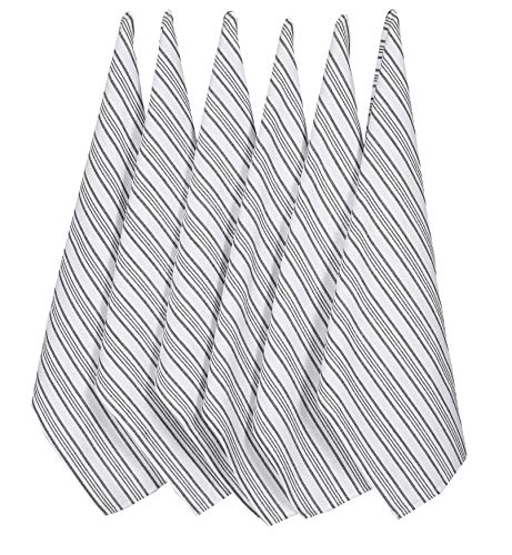 French Dish Towel - Kitchen Towel - Classic Vintage Stripes - 100% Pure Cotton (Charcoal Stripes 6 Pack 18x28) Quick Dry, Tea Towels, Bar Towels, Absorbent Towels, Cleaning Towels, Kitchen Dishes Towels, Easy Care
