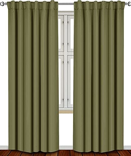 Prim Sliding Glass Door Back Tab Curtains Extra Wide Luxury Home Blackout Curtains for Villa Hall, Bedroom Window Drapes, Olive, 100×84-inch, 1 Panel