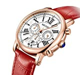 MEGIR Women Wrist Stylish Quartz Work Watch, Analog Chronograph Waterproof Dress Casual Watch with Leather Band