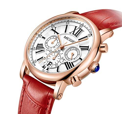 MEGIR Women Wrist Stylish Quartz Work Watch, Analog Chronograph Waterproof Dress Casual Watch with Leather Band by MEGIR