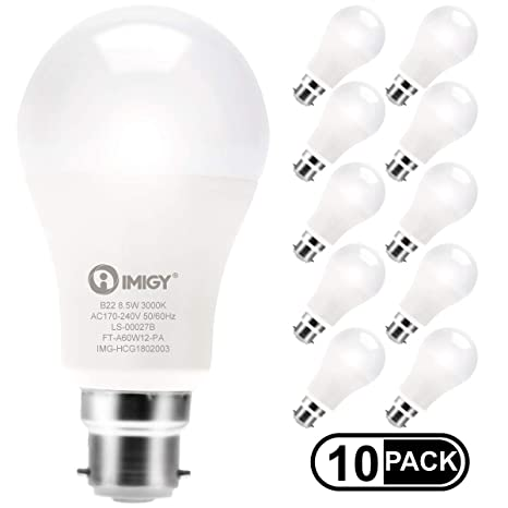 IMIGY LED B22 A60 Bombilla de bajo consumo, no regulable, 8,5 W