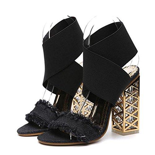 Los tacones altos de las mujeres de primavera y verano nuevas sandalias gruesas con cristal de tacón alto con punta abierta zapatos negro azul GAOLIXIA Black