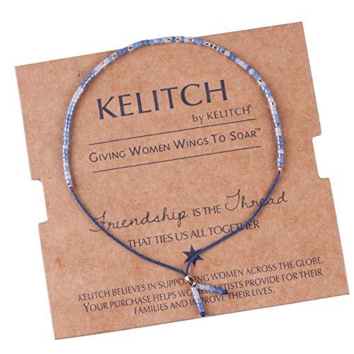 KELITCH Thin Rope Friendship Bracelet Handmade Japanese Seed Bead Adjustable String Bracelets for Women Girls