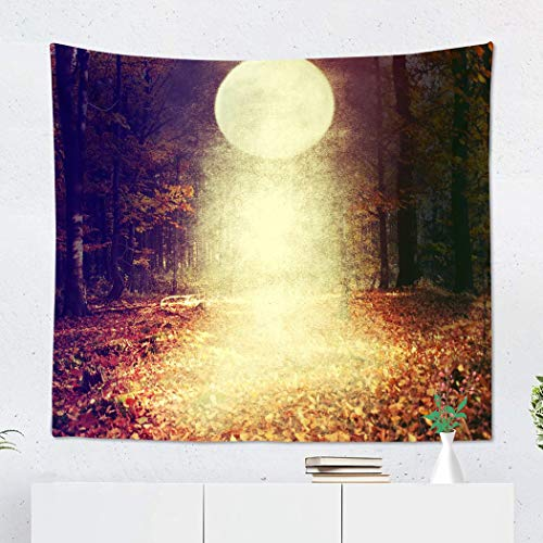 Suklly Tapestry Wall Hanging Polyester Red Abstract Halloween with Moon Autumn Black Border Branch Carving Celebration Home Decor Living Room Bedroom Dorm 50 x 60 inches Picnic Mat Beach Towel -