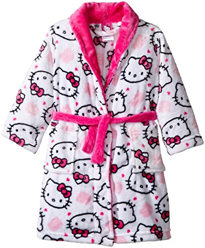 Hello Kitty Girls' Toddler Girls' Luxe Plush Robe, White, 4T (Toddler Girl Robe)
