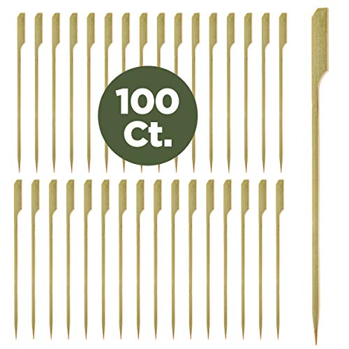Prexware 7 Inch Bamboo Picks Paddle Skewers BBQ Picks 100 Pack