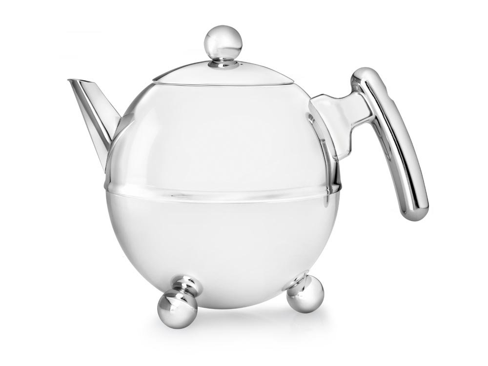 bredemeijer Bella Ronde Double Walled Teapot, 1.5-Liter, Stainless Steel Glossy Finish with Chromium Accents
