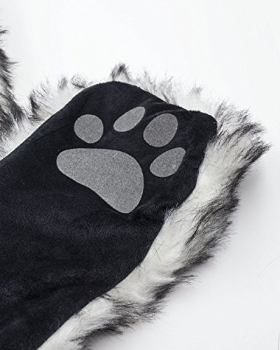 iHeartRaves Husky Animal Hood, Hat, Scarf and Paw Mittens Furry Hoodie