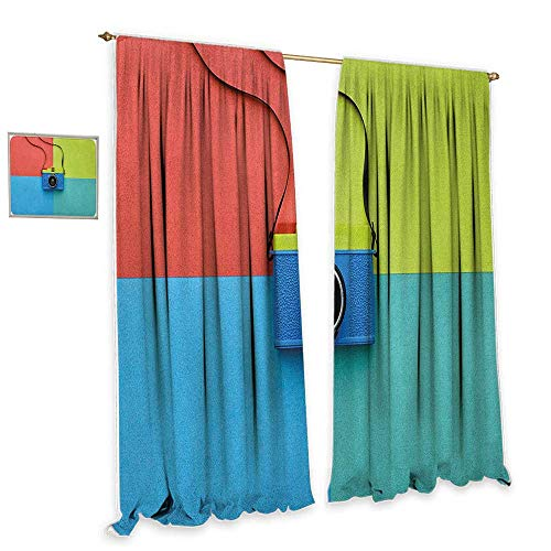 """Pastel Light luxury high-end curtains Retro Style Fashion Film Camera on Colorful Backdrop Hipster Pop Urban Accessories Home Garden Bedroom Outdoor Indoor Wall Decorations 55""""Wx72""""L Multicolor from cobeDecor"""
