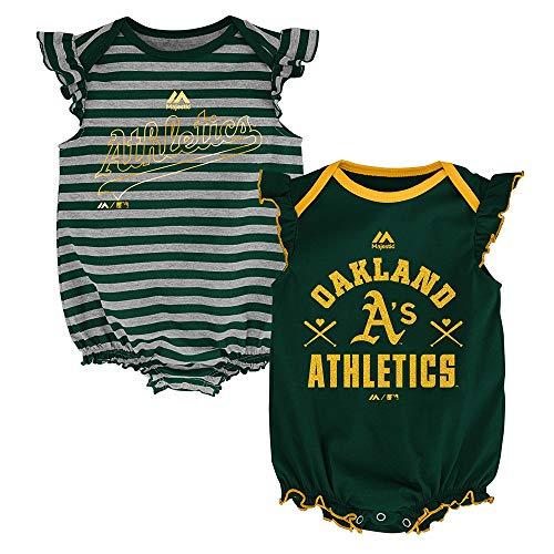 Outerstuff Oakland Athletics MLB Majestic Infant Team Sparkle 2 Pack Frill Creeper Set