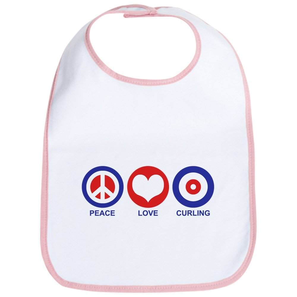 CafePress - Peace Love Curling Bib - Cute Cloth Baby Bib, Toddler Bib