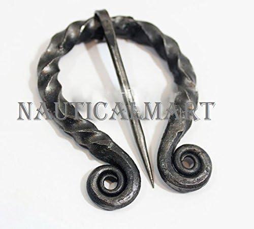 Hand Forged Medieval Twisted Black Steel Brooch Pennanular Cloak Pin
