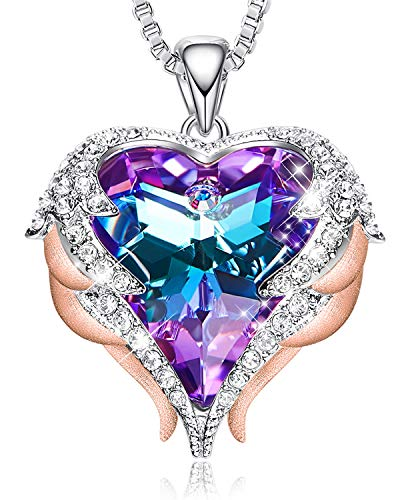 CDE 18K Rose Gold Women Necklace Heart Pendant Embellished with Crystals from Swarovski Angel Wing Jewelry for ()