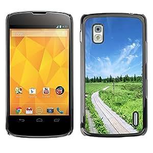 TopCaseStore / la caja del caucho duro de la cubierta de protección de la piel - Nature Beautiful Forrest Green 50 - LG Google Nexus 4 E960