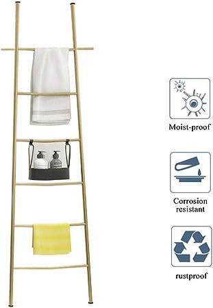 Toallero Escalera Blanca de Metal Escaleras Decorativas con 6 Peldaños Práctico Colgador de Pie sin Taladrar Gold: Amazon.es: Hogar