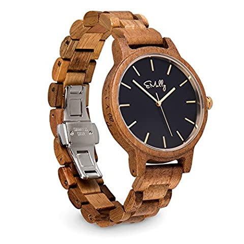 Emolly Men's Big Face Wooden Watch - Lightweight Comfortable and Stylish Koa Wood Conversation Piece - Classic Black Dial Perfect for a Casual or Dressed up Look and Comes Gift Ready in a Wood (Gold Versus Watches For Men)