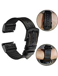 Correa de reloj YOOSIDE para Fenix 5X de 26 mm de acero inoxidable de ajuste rápido a prueba de sudor de piel auténtica y silicona híbrida para Garmin Fenix 5X/5X Plus/Fenix 3/Quatix 3/Tactix Bravo(negro)