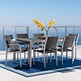 Crested Bay Patio Furniture ~ 7 Piece Outdoor Wicker and Aluminum Dining Set