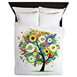 CafePress - Whimsical Bright Summer Floral - Queen Duvet Cover, Printed Comforter Cover, Unique Bedding, Microfiber