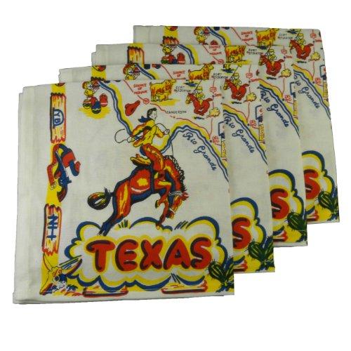 Texas State Branding Iron - TEXAS Map Souvenir Napkins Set of 4