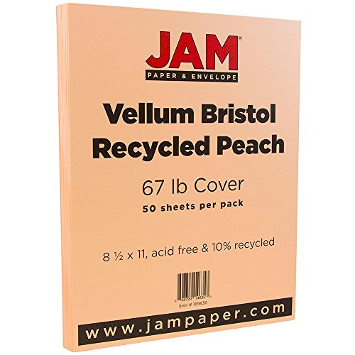 """JAM Paper Vellum Bristol Cardstock - 8.5"""" x 11"""" - 67 lb Peach - 50/pack"""