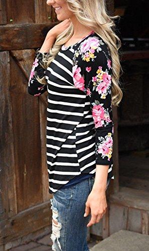 Lueyifs - Camiseta de manga larga - Túnica - Cuello redondo - para mujer negro