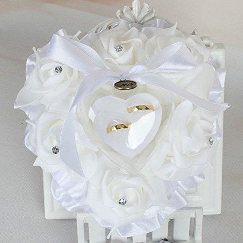 Blanc Amosfun Bague de Mariage Oreiller Anneau Blanc Oreiller Dentelle Cristal Rose Rose Coeur Bague de Mariage bo/îte Support de Bague