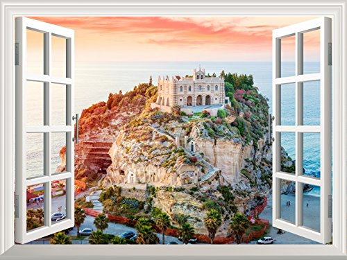 Removable Wall Sticker Wall Mural Beautiful Island View out of the Open Window Creative Wall Decor