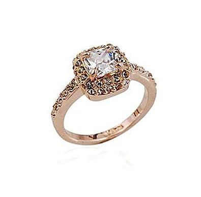 18 Karat Rosegold Vergoldet Synthetische Diamant Prinzessin Schnitt